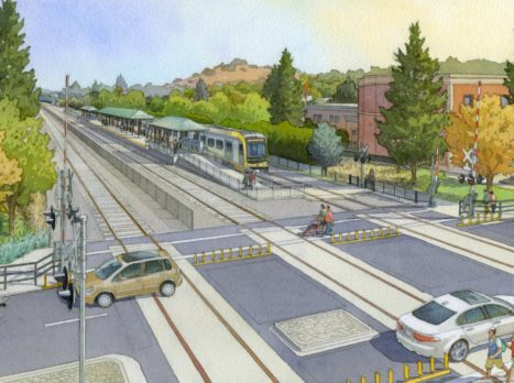 An artistic rendering of what the San Dimas Gold Line station will look like.