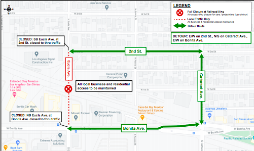 Eucla Ave. will be closed as a result of Gold Line construction.